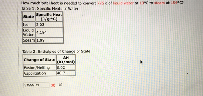 How Much Total Heat Is Needed To Convert 775 G Of Liquid Water At 13