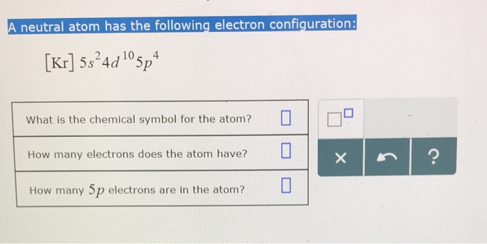 Solved Neutral Atom Has The Following Electron Configurat