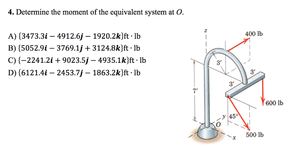 mechanical engineering recent questions chegg com  4 determine the moment of the equivalent system at o 2 400 lb a