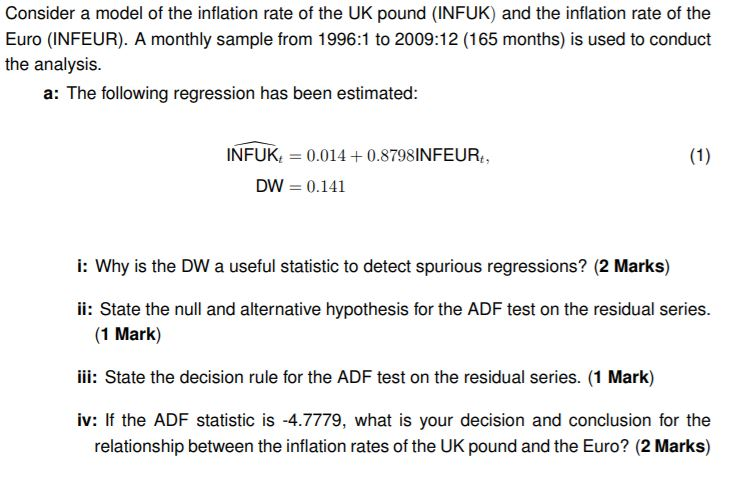 Solved: Consider A Model Of The Inflation Rate Of The UK P