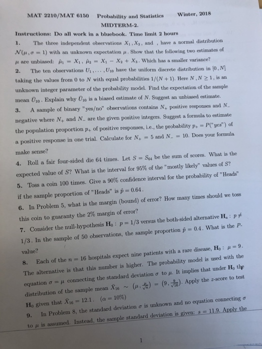 Solved Mat 2210mat 6150 Probability And Statistics Winte