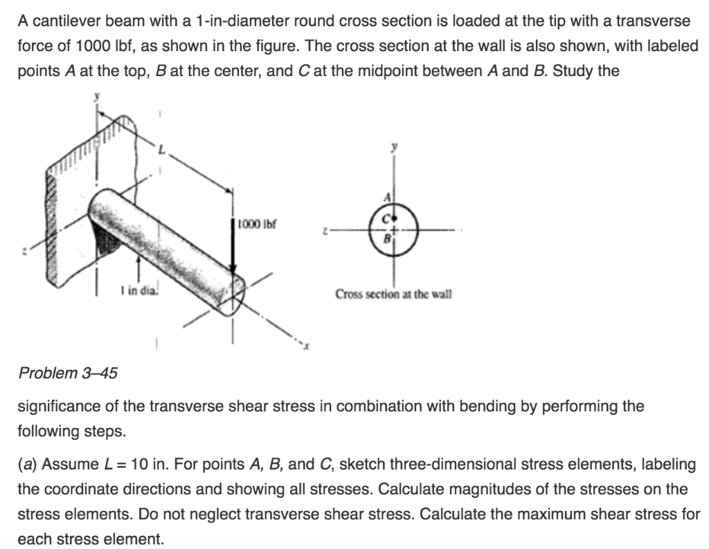 Solved: A Cantilever Beam With A 1-in-diameter Round Cross