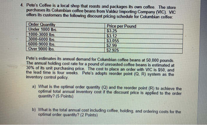 Solved: 4  Pete's Coffee Is A Local Shop That Roasts And P