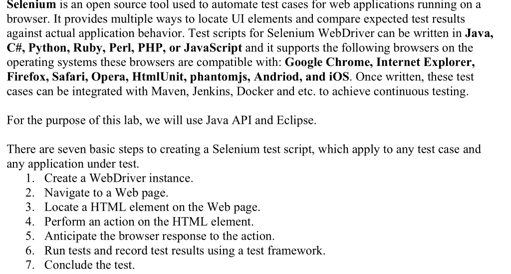 Selenium Is An Open Source Tool Used To Automate T