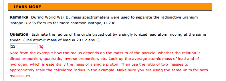 Solved: EXAMPLE 19 6 The Mass Spectrometer: Separating Iso