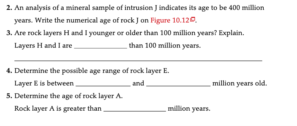 question: use figure 10 12 to complete the following  figure 10 12 geologic  block diagram of a hypothetical area youngest fault l intrusion j7 oldest  in