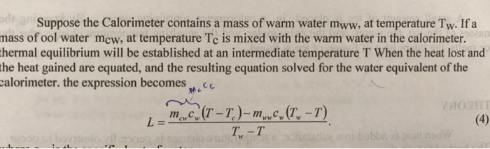 Solved: Suppose The Calorimeter Contains A Mass Of Warm Wa