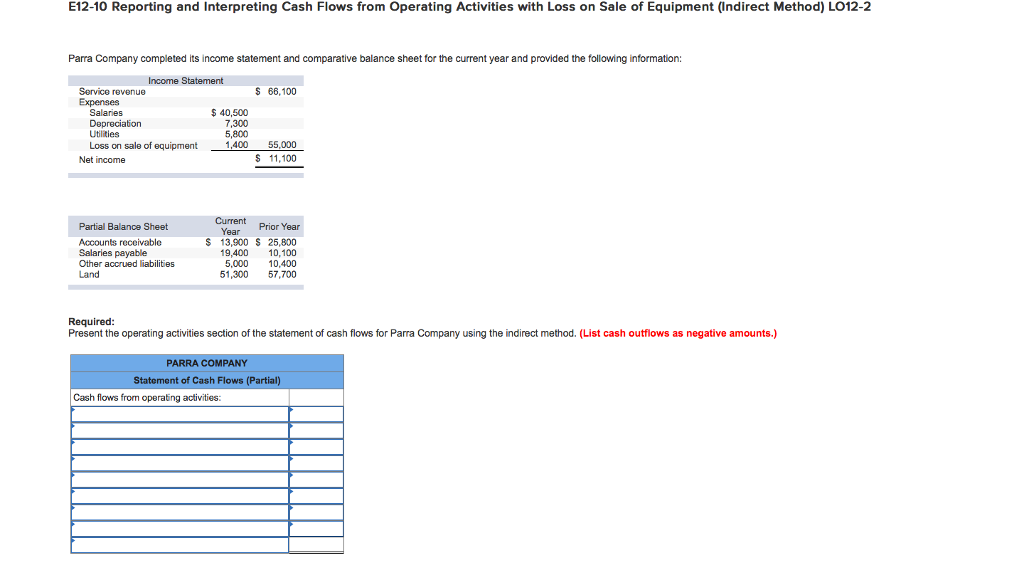 solved e12 10 reporting and interpreting cash flows from