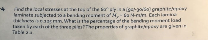 Find the local stresses at the top of the 60° ply in a [go/-30/60] graphite/epoxy laminate subjected to a bending moment of My 60 N-m/m. Each lamina thickness is o.125 mm. What is the percentage of the bending moment load taken by each of the three plies? The properties of graphite/epoxy are given in 4 Table 2.1.