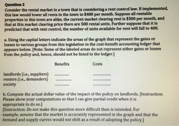 solved question 3 consider the rental market in a town th