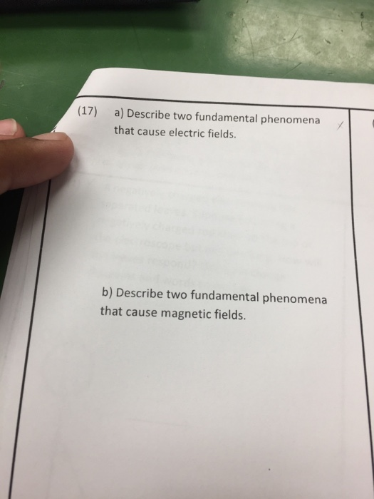 Solved: Describe Two Fundamental Phenomena That Cause Elec ...