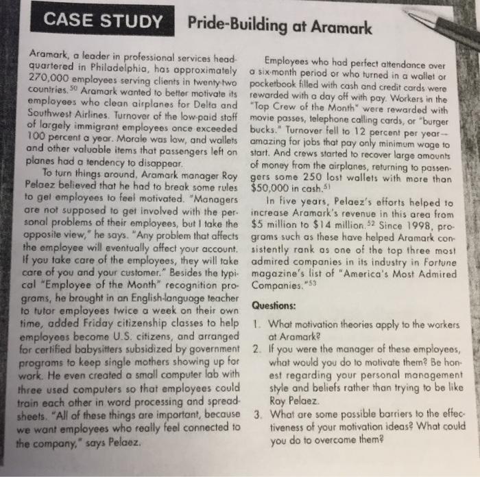 Solved: CASE STUDY Pride-Building At Aramark Aramark, A Le