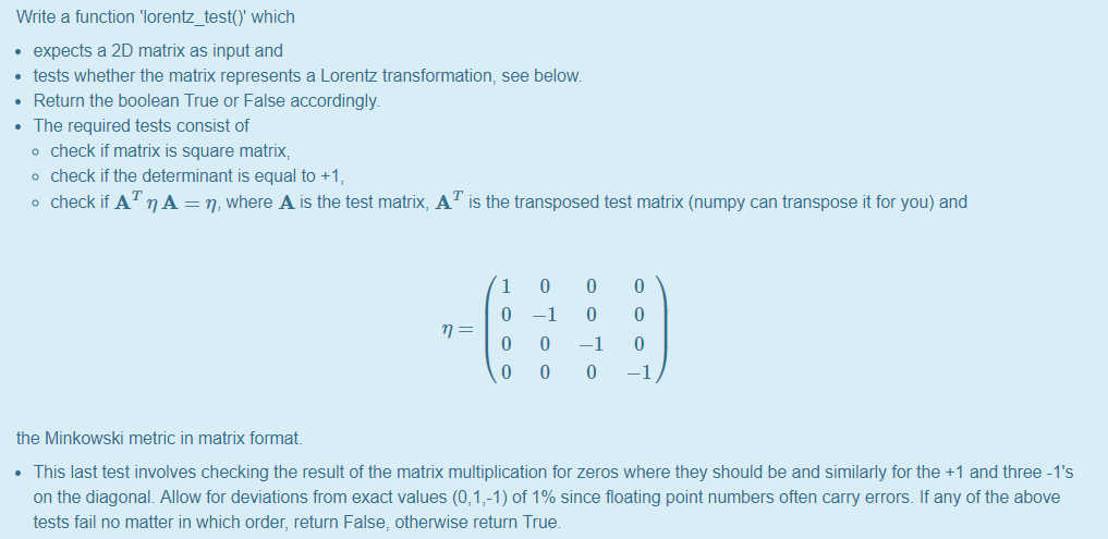 Solved: Write A Function 'lorentz_test( Which Expects A 2D