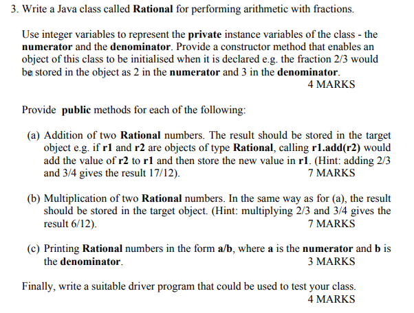 Solved: 3  Write A Java Class Called Rational For Performi