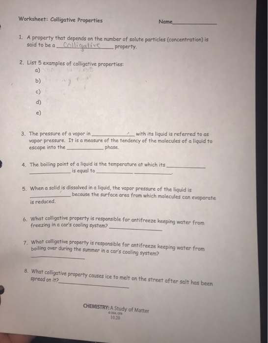 Solved: Worksheet: Colligative Properties Name A Property ...