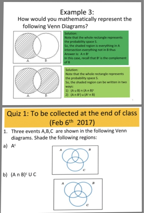 Solved how would you mathematically represent the followi example 3 how would you mathematically represent the following venn diagrams note that the ccuart Images