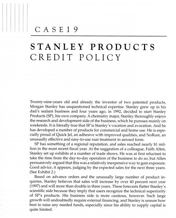 CASE 1 9 STANLEY PRODUCTS CREDIT POLICY Twenty-nin