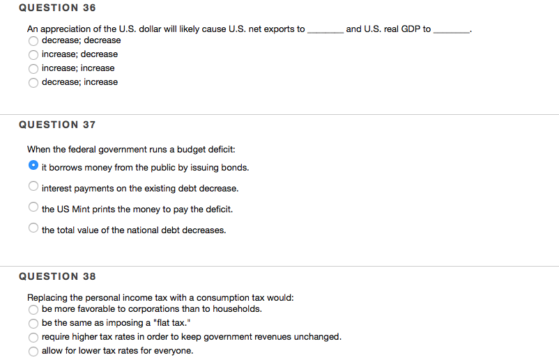 Solved: QUESTION 36 An Appreciation Of The U S  Dollar Wil