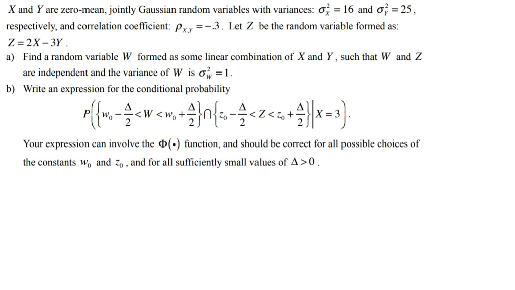 Solved: X And Y Are Zero-mean, Jointly Gaussian Random Var
