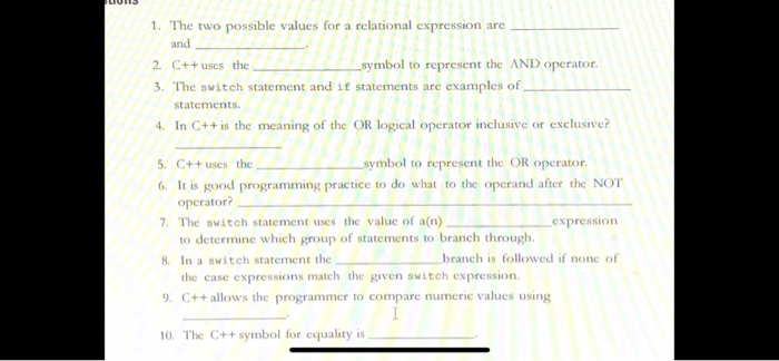 Solved 1 The Two Possible Values For A Relational Expres