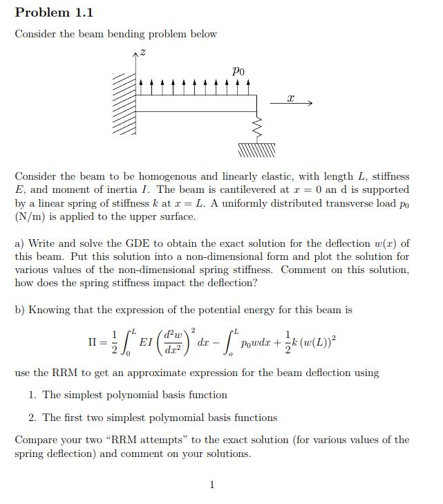 Solved: Problem 1.1 Consider The Beam Bending Problem Belo