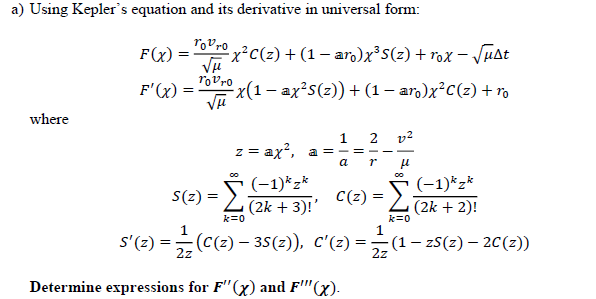 260b3bc2b0a5 a) Using Keplers equation and its derivative in universal form  Nu rovro VA  where
