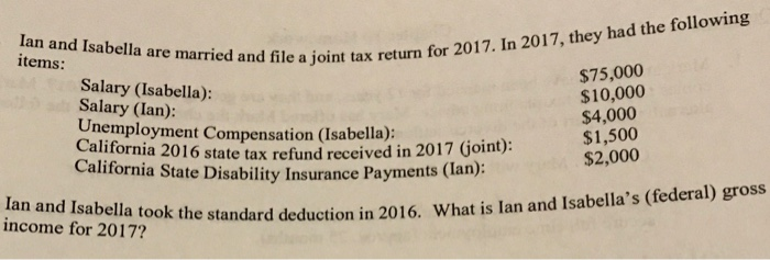 Solved: Items: Ried And File A Joint Tax Return For 2017