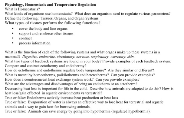 Solved: Physiology, Homeostasis And Temperature Regulation