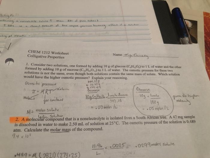 Solved: Went CHEM 1212 Worksheet Colligative Properties 1 ...