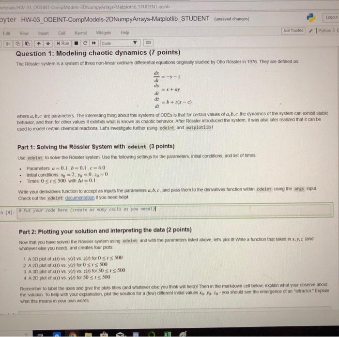 Solved: Nloads/HW-03 ODEINT-CompModels-2DNumpyArrays-Matpl