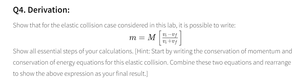 Solved Q4 Derivation Show That For The Elastic Collisio