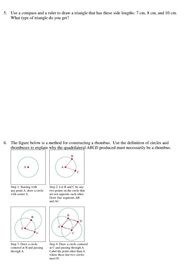 Solved: 5  Use A Compass And A Ruler To Draw A Triangle Th