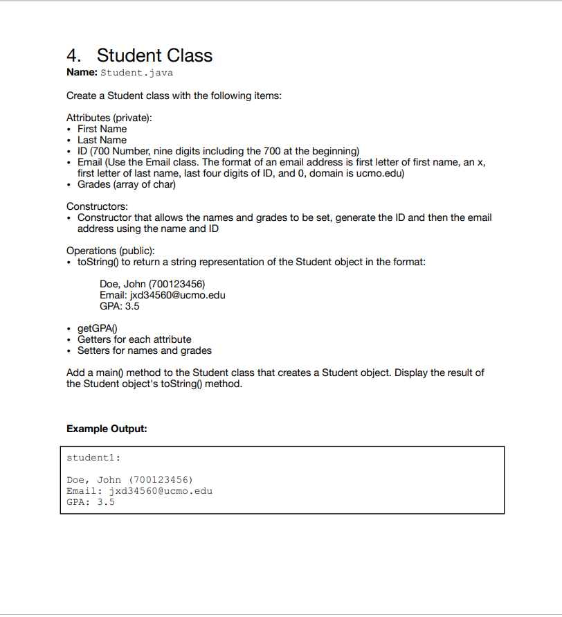 Solved: 4  Student Class Name: Student java Create A Stude