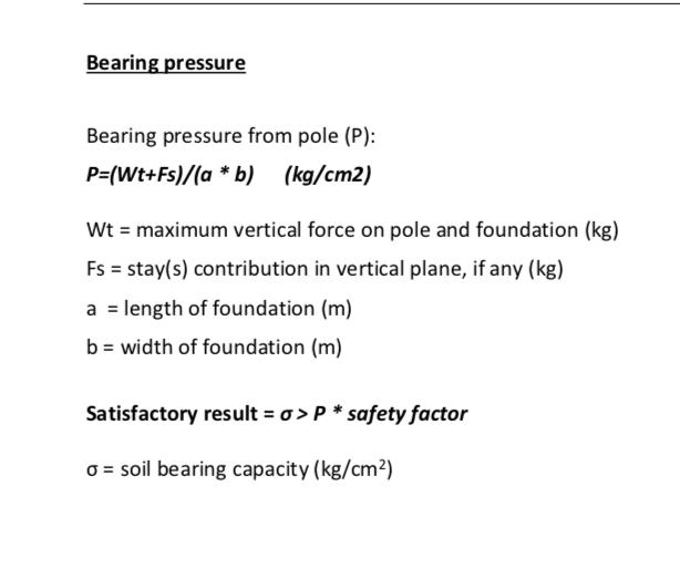 Bearing Pressure Bearing Pressure From Pole (P) P