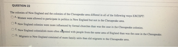 difference between chesapeake and new england colonies