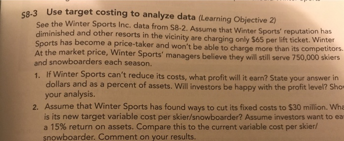 Solved: Use Target Costing To Analyze Data (Learning Objec