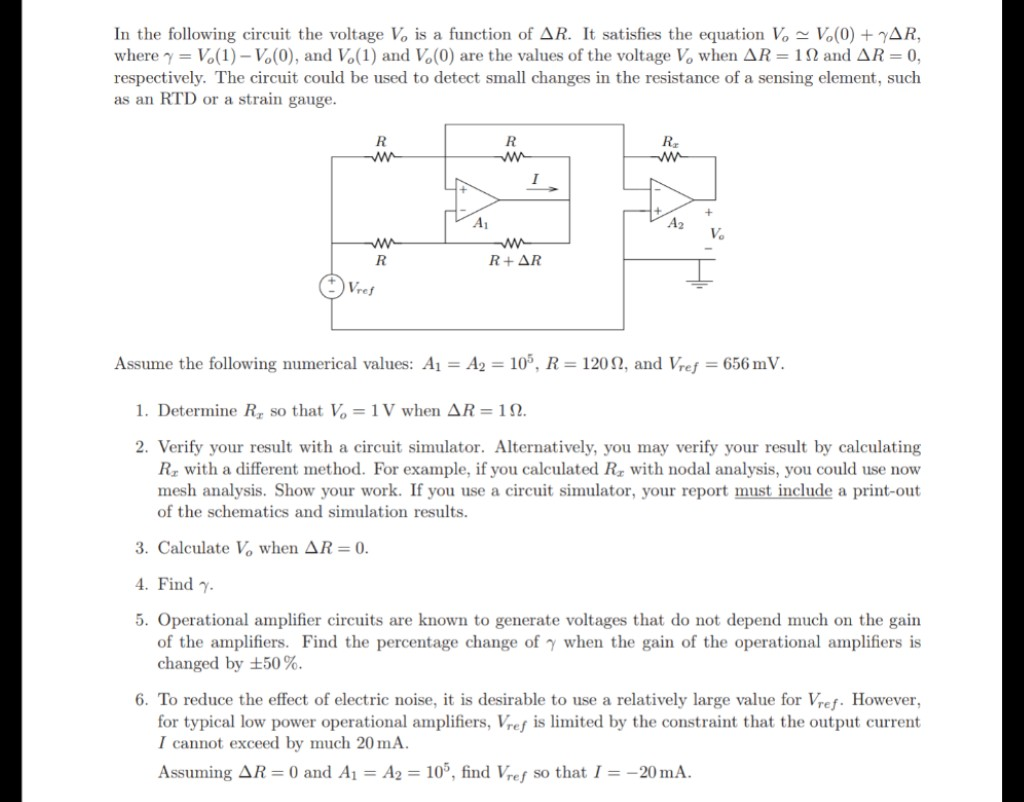 Solved In The Following Circuit Voltage Vo Is A Funct What Simulator Electronic Simulation Uses Function Of R It Satisfies