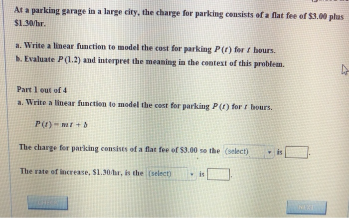 At A Parking Garage In Large City The Charge For Consists Of