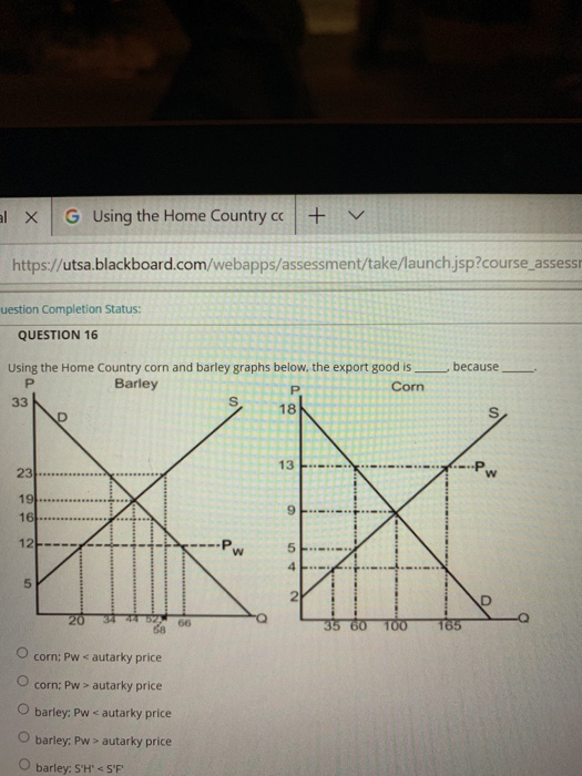1 × | G Using the Home Country cc | + https://utsa.blackboard.com/webapps/assessment/take/launch jsp?course assessi uestion Completion Status: QUESTION 16 Using the Home Country corn and barley graphs below, the export good isbecause Barley Corn 18 13 ExP 5 2 65 O corn: Pw < autarky price O corn: Pw autarky price O barley, Pw < autarky price O barley: Pw> autarky price O barley: SH SF