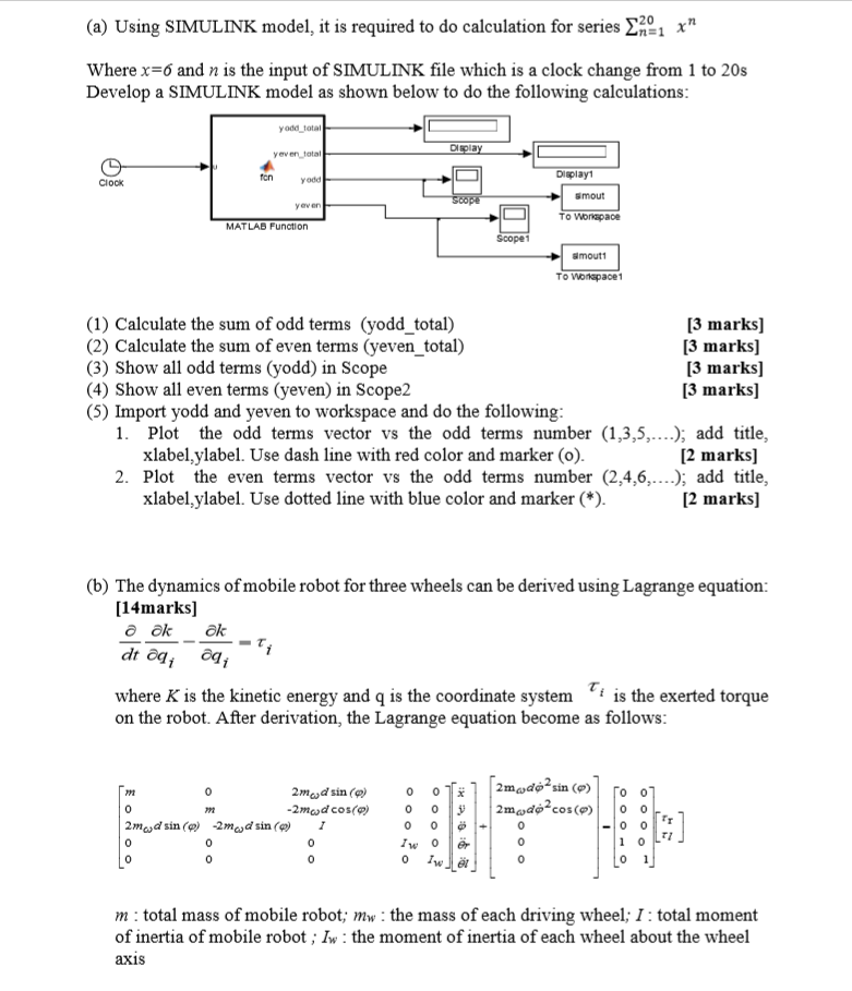 20 (a) Using SIMULINK Model, It Is Required To Do