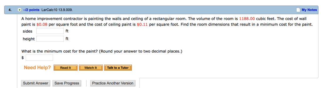 Solved: 4  -12 Points LarCalc10 13 9 009  My Notes A Home