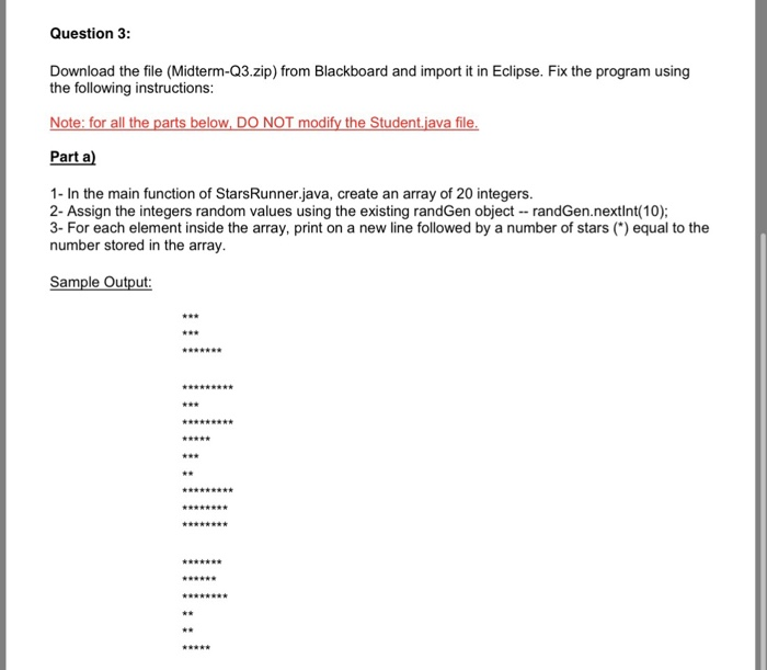 Question 3: Download The File (Midterm-Q3 zip) Fro    | Chegg com