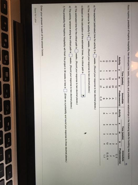 Solved: Ross Hopkins, President Of Hopkins Hospitality, Ha...   Chegg.com