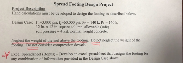 Solved Spread Footing Design Project Project Description – Spread Footing Design Spreadsheet