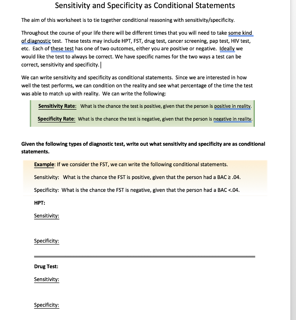 Sensitivity And Specificity As Conditional Statements The Aim Of This Worksheet Is To Tie Together