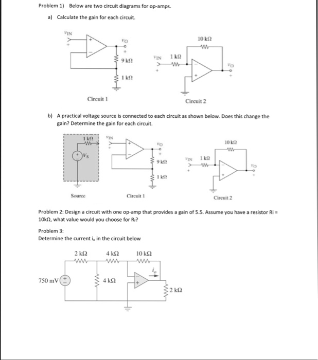 Solved problem 1 below are two circuit diagrams for op a problem 1 below are two circuit diagrams for op amps a calculate ccuart Images