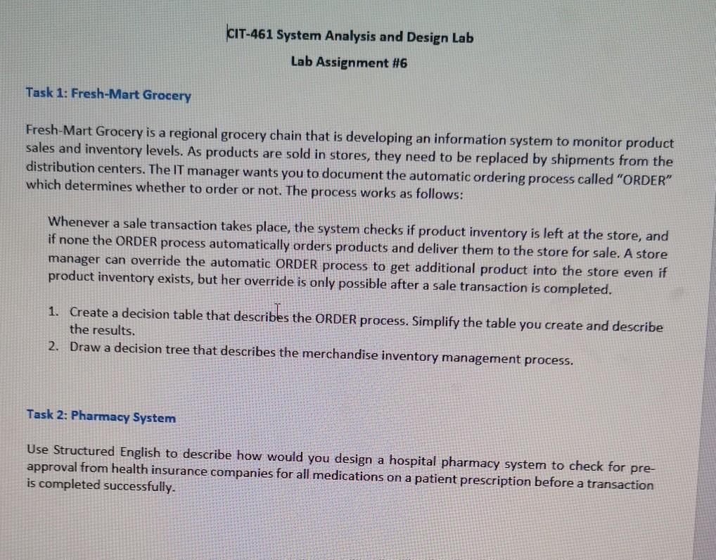 Solved Cit 461 System Analysis And Design Lab Lab Assign Chegg Com