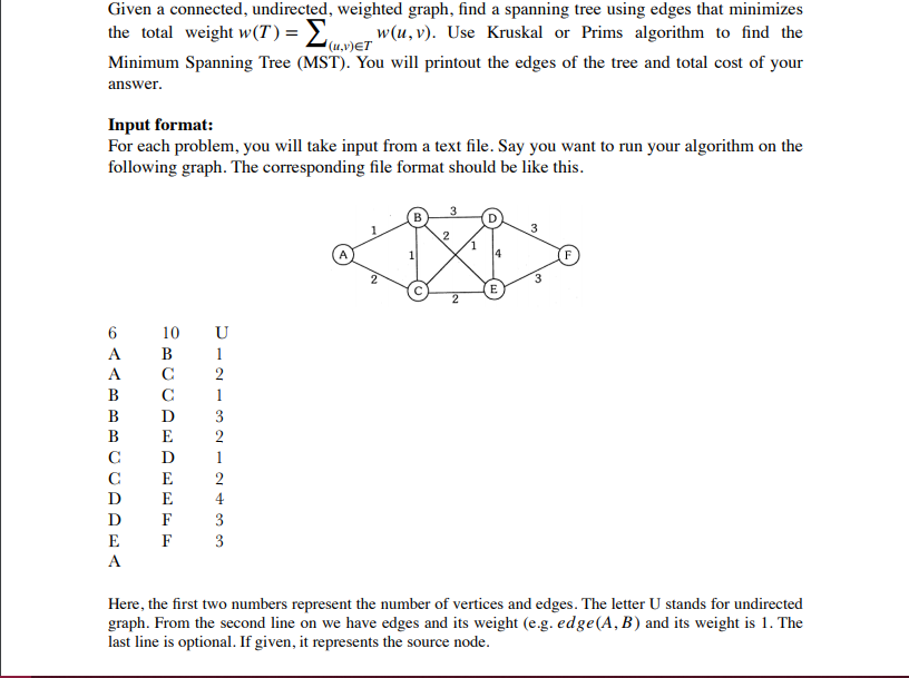 solved given a connected undirected weighted graph fin