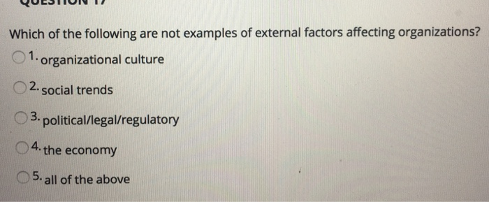 Solved Which Of The Following Are Not Examples Of Externa