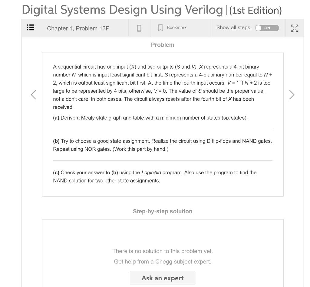 Solved Digital Systems Design Using Verilog 1st Edition Chegg Com